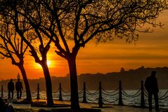 Sunset of Istanbul stock images