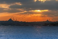 Sunset of Istanbul royalty free stock images