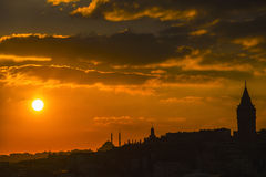 Sunset in Istanbul. The last sun of Istanbul, October 2013 Royalty Free Stock Photography