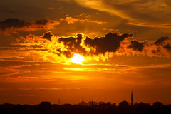 Sunset in Istanbul. Mystical sky with beam of light Royalty Free Stock Photography
