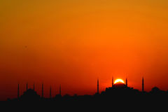 Sunset in istanbul. Sunset over iconic Istanbul Silhouette vector illustration
