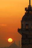 Sunset in istanbul. Sunset over iconic Istanbul Silhouette royalty free illustration
