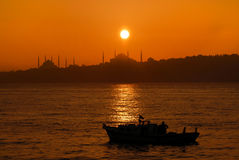 Sunset in istanbul. Sunset over iconic Istanbul Silhouette stock illustration