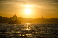 Sunset in Istanbul. Photo taken on the cruise through Bosphorus in Istanbul, Turkey stock images
