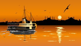 Sunset in Istanbul, suliette. art. royalty free illustration
