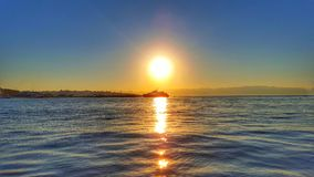 Sunset at Istanbul. Marmara Sea on ferry Stock Images
