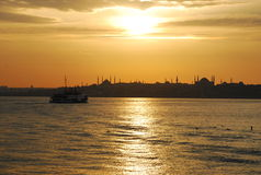Sunset on Bosporus Istanbul, Turkey. Sunset view of the European side of Istanbul, Turkey. Bosporus Straight royalty free stock photography