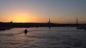 Sunset in Istanbul Turkey. Sunset in Istanbul, Galata bridge Turkey stock video