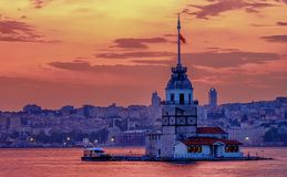 Sunset in Istanbul, Turkey. View of the Maiden Tower and the Bosphorus. Magic Sunset in Istanbul, Turkey. View of the Maiden Tower and the Bosphorus stock images
