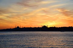 Sunset in Istanbul, Turkey. View from sea of marmara. royalty free stock photo