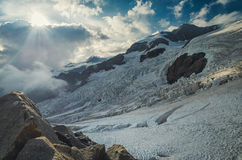 Sunset at Italian alps, Monte Rosa. Italian alps, Aosta, Monte Rosa Group, Sunset with glacier Royalty Free Stock Photos