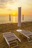 Sunset. On an italian beach in summer time royalty free stock photos