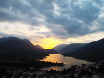 Sunset in Italy. Sunset over a small town in Italy Royalty Free Stock Photo