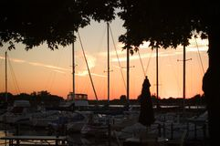 sunset jacht klubu fotografia stock