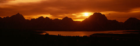 Sunset at Jackson Lake Royalty Free Stock Photography