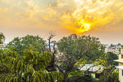 Sunset in Jaipur from the roof Royalty Free Stock Photography