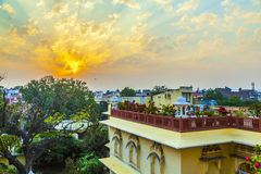 Sunset in Jaipur from the roof Stock Photos