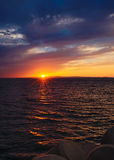 Sunset on Japanese sea. Sun goes down. Japanese sea Royalty Free Stock Photo