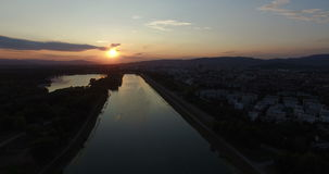 Sunset on Jarun lake. Aerial view of sunset on Jarun lake in Zagreb, Croatia stock footage