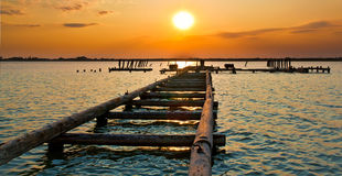 Sunset Jetty Royalty Free Stock Photos