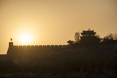 Sunset in Jiayuguan Stock Images