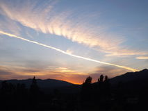 Sunset 4.8.14 by Joe. Chemical trails over southern california Stock Photo