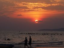 Sunset at Jomtian Beach, Pattaya Thailand stock images