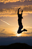 Sunset and jump Royalty Free Stock Images