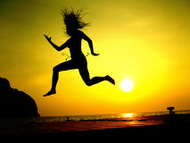 Sunset Jump Royalty Free Stock Photography