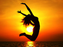 Sunset Jump Royalty Free Stock Photos
