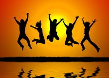 Sunset jump Royalty Free Stock Image