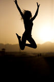 Sunset jumping. Royalty Free Stock Photo