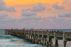 Sunset in Juno beach. Fishing Pier, Florida stock photos