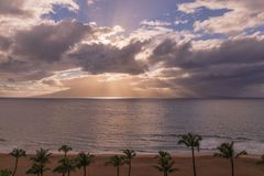 Sunset on Kaanapali Beach Maui. A beautiful sunset along Kaanapali beach on the island of Maui royalty free stock photo