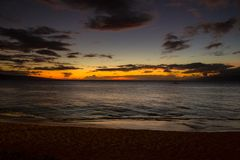 Sunset at Kaanapali Beach. On Maui, Hawaii, USA royalty free stock images