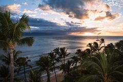 Sunset at kaanapali maui Royalty Free Stock Image