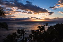 Sunset at kaanapali maui Royalty Free Stock Photo