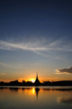 Sunset at Kaen Nakhon Lake Royalty Free Stock Photo