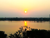 Sunset at Kaen Nakhon Lake Royalty Free Stock Photo