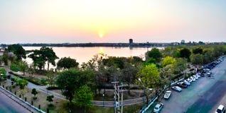 Sunset at Kaen Nakhon Lake Stock Photos