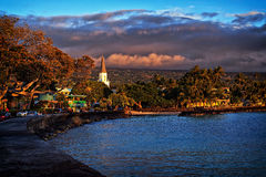 Sunset in Kailua Town, Kona Coast, Big Island of Hawaii, USA Stock Image