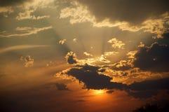Sunset in Kalahari. Spectacular sunset in Kalahari with silhouette clouds Stock Images