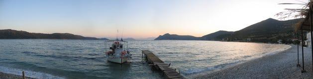 Sunset in Kalamos, Greece. Sunset over the bay at Kalamos, Ionian Ilsands in Greece stock photos