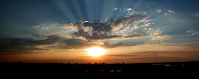 Sunset from Kalemegdan. With beautiful view to a confluence Sava and Danube Royalty Free Stock Photos