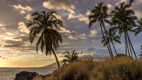 Sunset from Kamaole Beach, Maui Royalty Free Stock Images