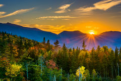 Sunset from  Kancamagus Pass, on the Kancamagus Highway in White Royalty Free Stock Image