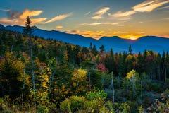 Sunset from  Kancamagus Pass, on the Kancamagus Highway in White Stock Images