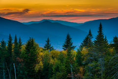 Sunset from  Kancamagus Pass, on the Kancamagus Highway in White Royalty Free Stock Photo