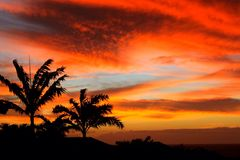 Sunset Kapalua, Maui. A ray of colours Royalty Free Stock Image