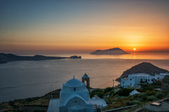 Sunset from Kastro, Milos island, Cyclades, Greece stock photo